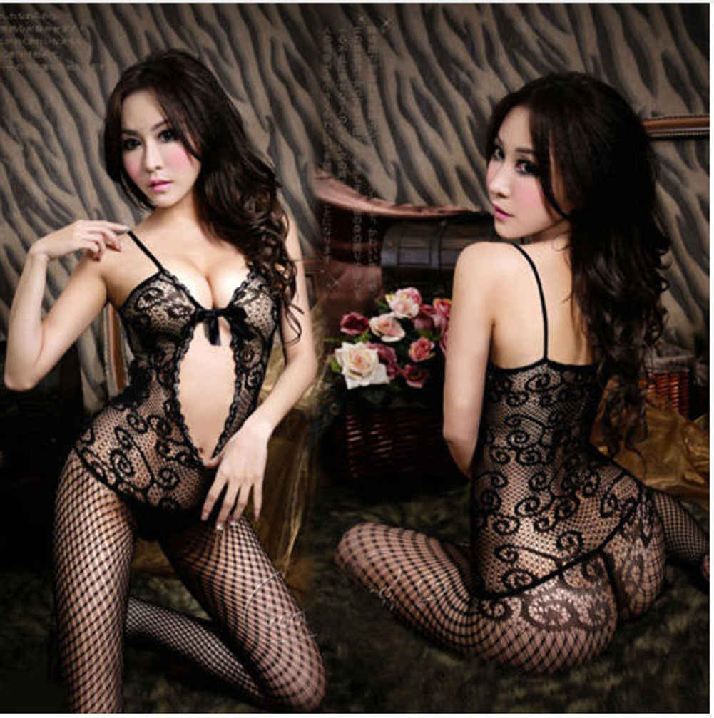 Hot Sexy Lingerie Fishnet Bodystocking Women Ladies Crotchless Black Nightwear Bodysuits