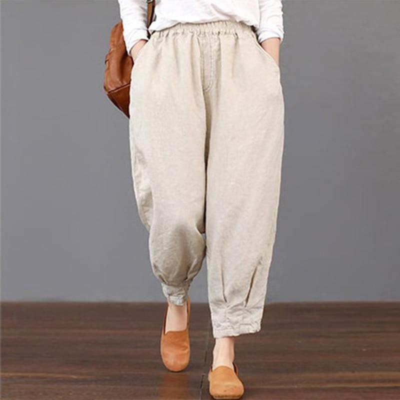 2019 Summer Women Pockets Solid Loose Trousers Elastic Waist Harem   Pants   Cargo Baggy Cotton Linen Pantalon Plus Size