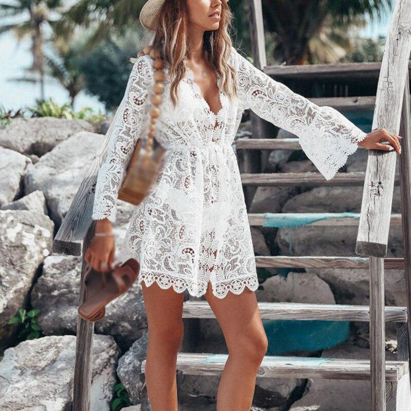 Сексуальные Платья женские летние с v-образным вырезом с длинным рукавом кружевные пляжные сарафаны вечерние пляжные праздничные белые отк...