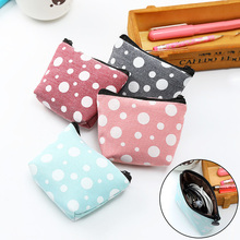 LNRRABC Plaid Canvas Coin Purses Women Small Wallet Change Purse Girl Dot Mini Zipper Pocket Bag Key Card Coin Holder Pouch стоимость