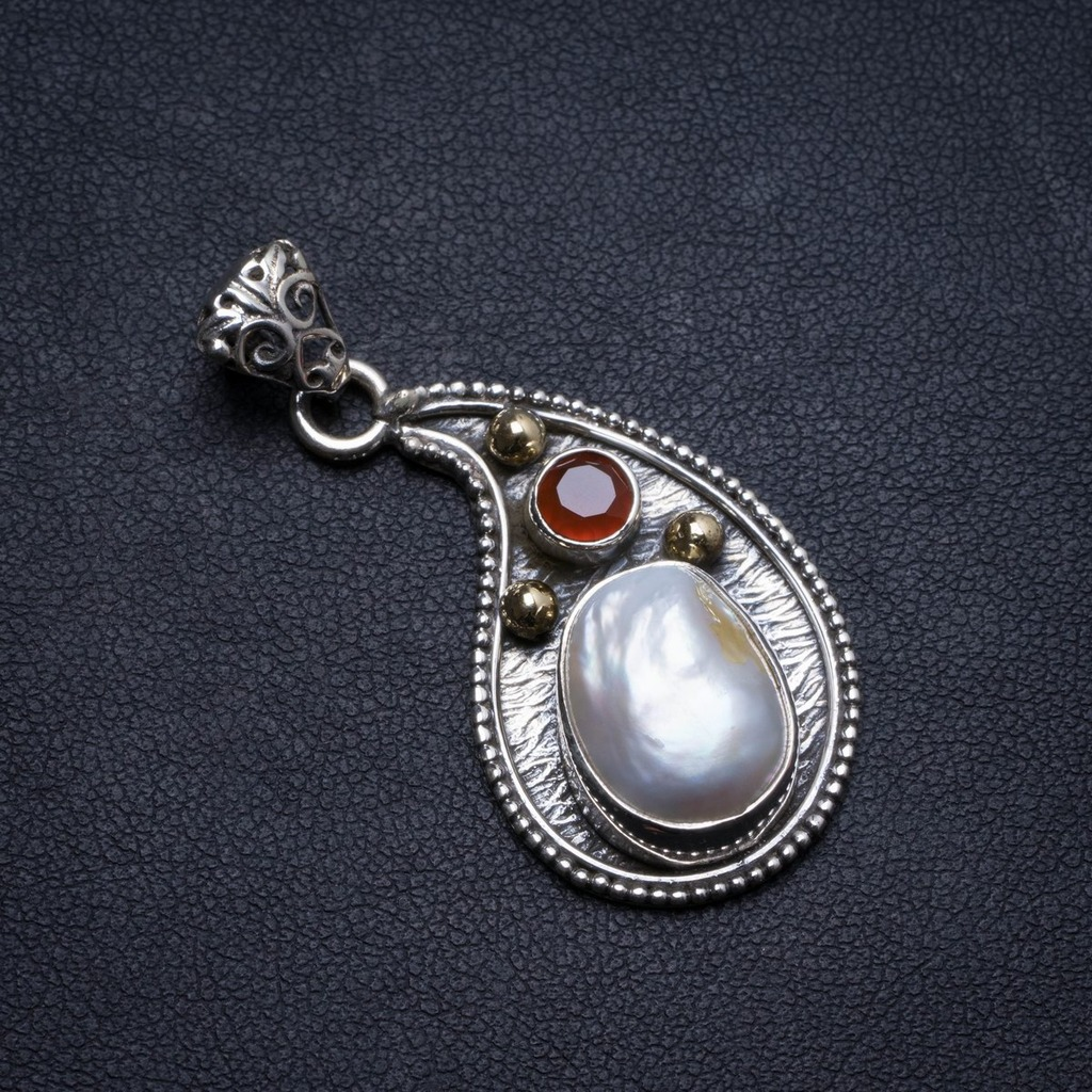 Natural Biwa Pearl and Carnelian Handmade Unique 925 Sterling Silver Pendant 1.5 X1491Natural Biwa Pearl and Carnelian Handmade Unique 925 Sterling Silver Pendant 1.5 X1491
