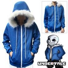 เด็ก Sans Cosplay สีฟ้า Hoodies Coat Unisex ฮาโลวีนชุดคอสเพลย์ Hooded เสื้อกันหนาว Undertale COOL SKELETON คอสเพลย์