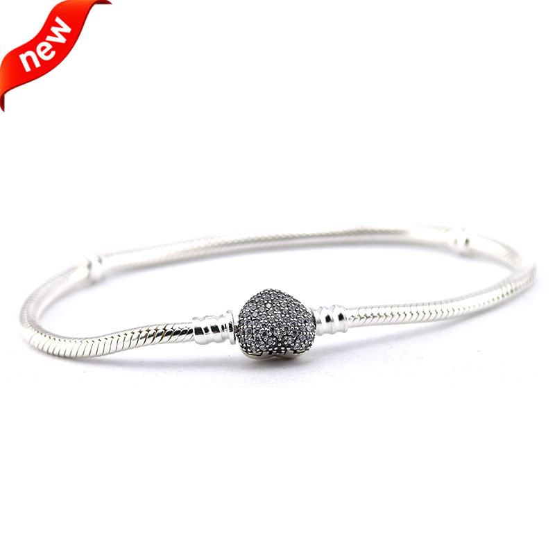 Genuine 925 Sterling Silver Moments Pave Heart Clasp With Crystal Bracelets Bangles for Women Fit Bead