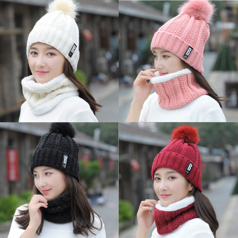 New Fashion Comfy Scarf Hat Kit Women Winter Warm Solid Pompoms Knitted Soft Caps And Scarves 2PCS