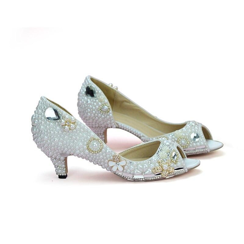 D'été Pompes Creux Weddding 2 Talons Toe Chaussures 8cm 5cm De Moyen Fées Peep 10cm Soirée Heels Pouces Blanc Conte Perle Heels white Mariée White Robe Talon qTU7nz