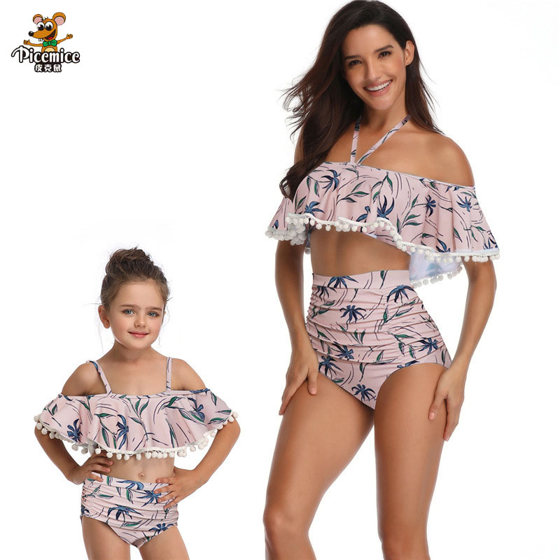 Vogue Floral Excessive Waist Bikini Set Summer season Household Garments Matching Swimsuit For Mom Daughter Swimwear Mother Lady Outfits Matching Household Outfits, Low cost Matching Household Outfits, Vogue Floral...