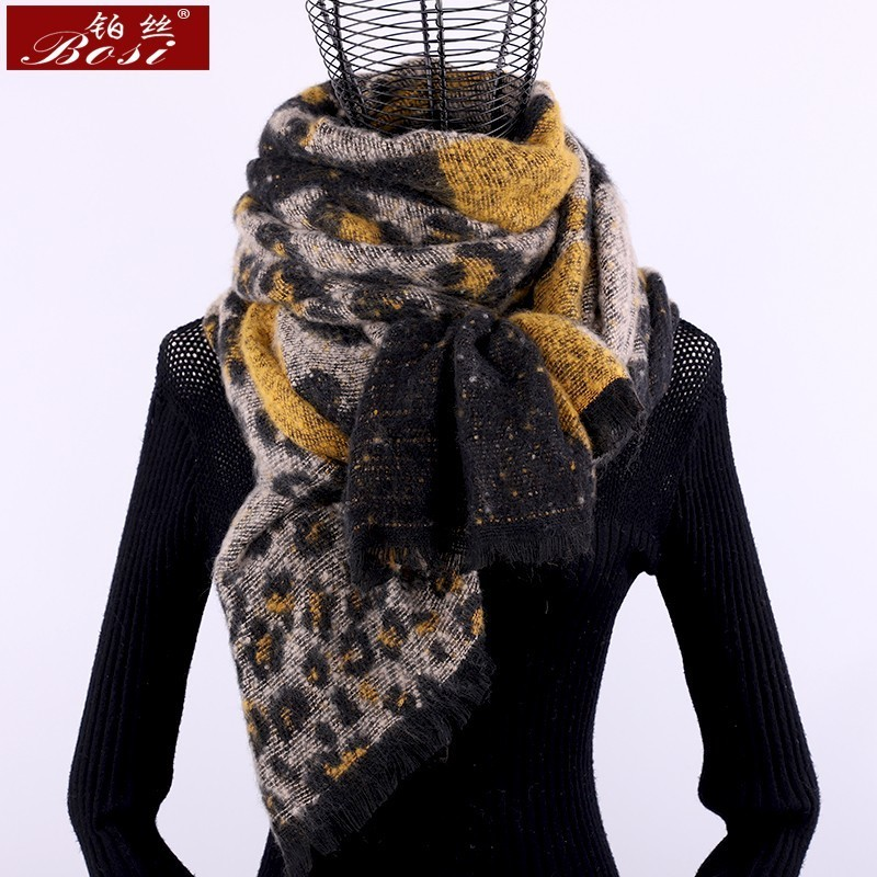 Cashmere Scarf Leopard Plaid Print Winter Fashion For Women Tassel Shawl Plaid Long Scarves Brand Oversize Wool Wraps Pashmina