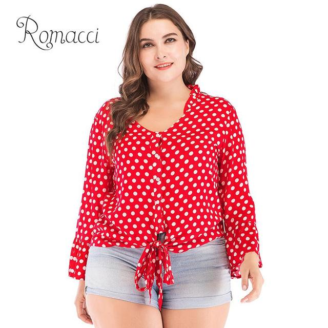 e31b6acfc20 New Sexy Women Plus Size Cotton Blouse Polka Dot Deep V Neck Flared Long  Sleeve Bandage Short Style Shirt Casual Loose Crop Top