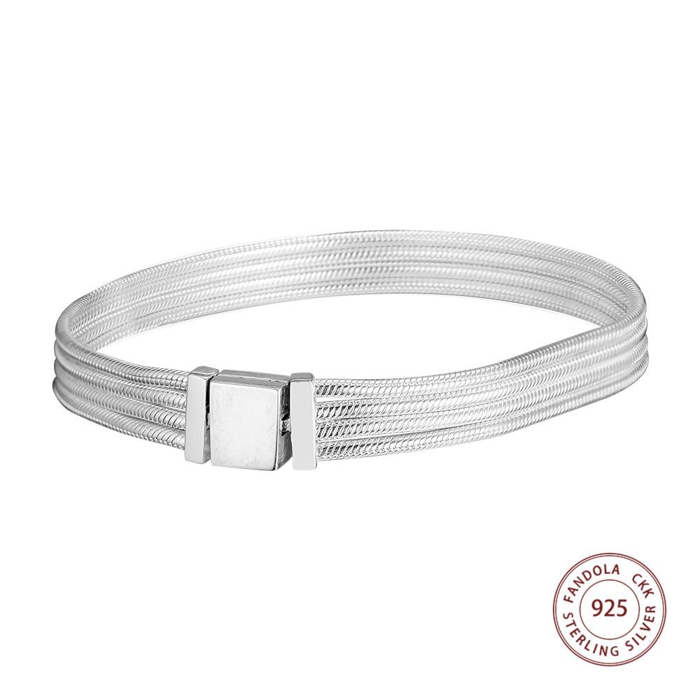 CKK réflexions Multi serpent chaîne Bracelets Argent 925 en Argent Sterling Bracelets pour femme Fit bricolage Bracelets porte-bonheur bijoux