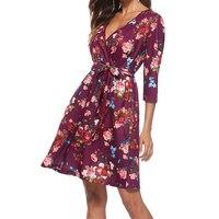 New Plus Size Boho Printed Women Floral Dress V neck Sashes Beach Summer Sundress Femme Three Quarter Sleeve Party Dresses