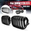 Для BMW F20 F21 1 серия 2015 2016 2017 1 пара матовый блесек для губ черный двойной полос линии M Цвет Передняя гоночная решетка для почек