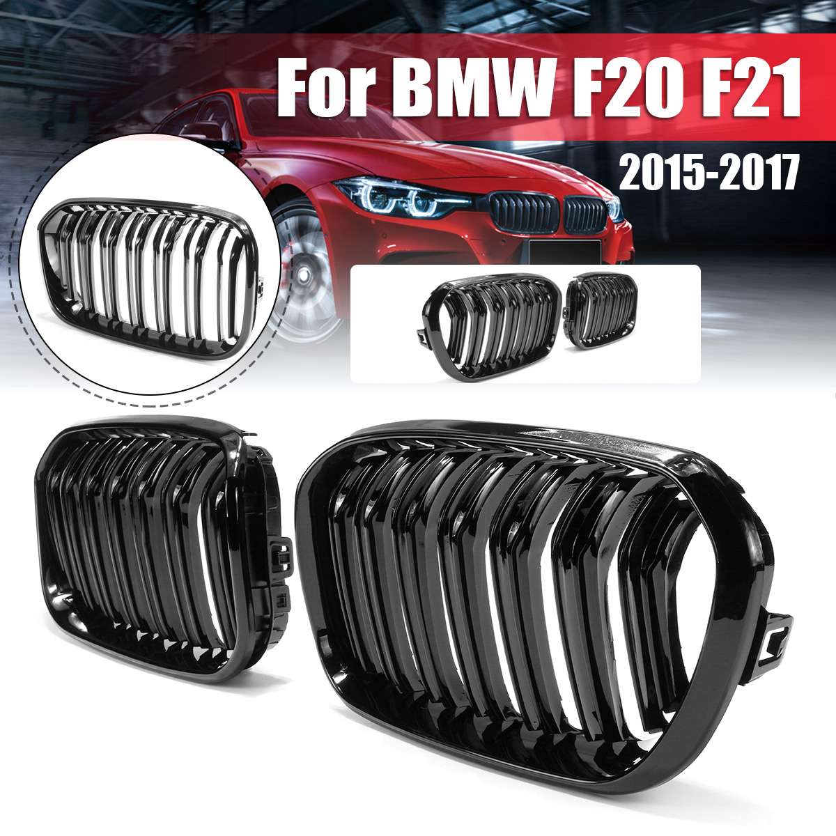 For BMW F20 F21 1 Series 2015 2016 2017 Pair Gloss Matt Black Double Slat Line M Color Front Racing Grill Kidney Grill Grille image
