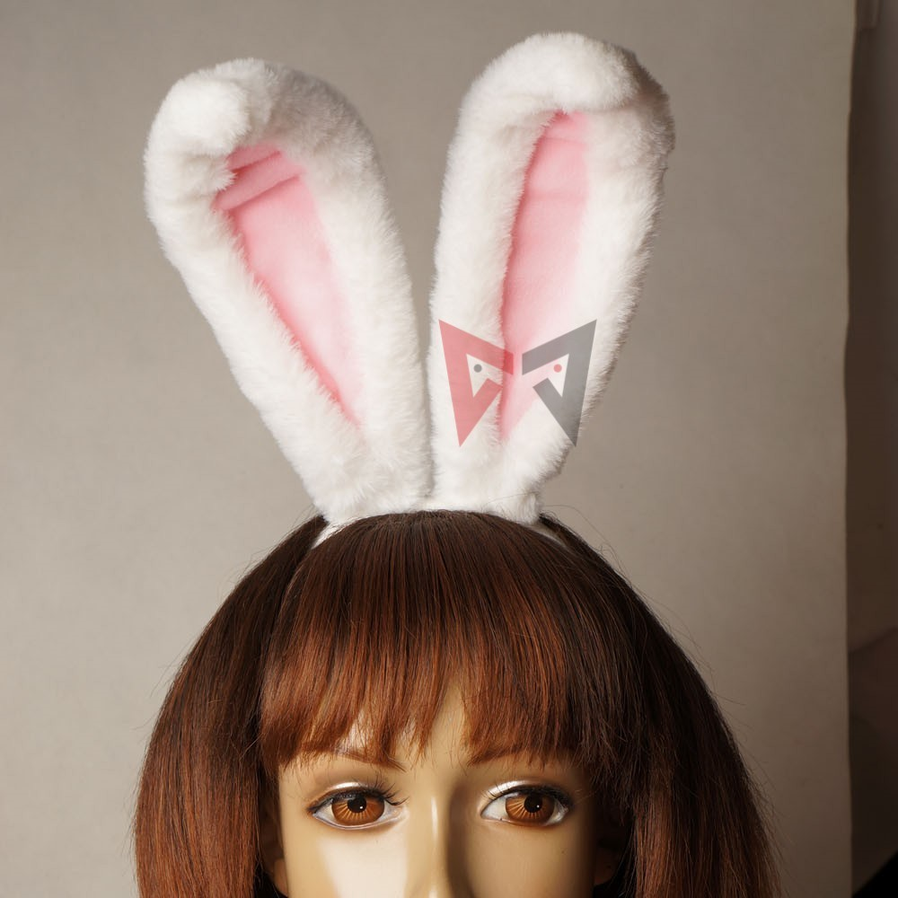LOL Riven the Exile cosplay accessories   headwear   tail set white pink rabbit lady ears for girl women kids