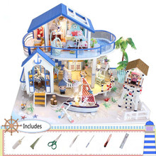 DIY Miniature Assembly Blue Sea Legend House Model With Light Wooden Dollhouse Educational Toys Children Friends Gift Toys dust proof cover case for legend of the blue sea 13844 diy dollhouse 22 21 1cm acrylic