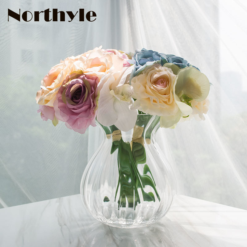 Dream House DH TZ126327 artificial orchid rose bouquet floral set  2pcs* bouquet* 1 pcs glass vase home decoration