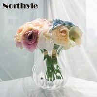 TZ126327 Artificial Orchid Rose Bouquet Floral Set 2pcs* Orchid Rose Bouquet* 1 Pcs Glass Vase Home Decoration