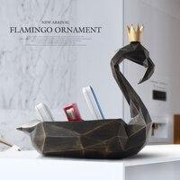 Żywica home decor rzeźba Flamingo figurka statua organizator przyborów do makijażu narzędzia do telefonów komórkowych kontrola przechowywania pudełko typu organizer w Przechowywania w domu i biurze od Dom i ogród na