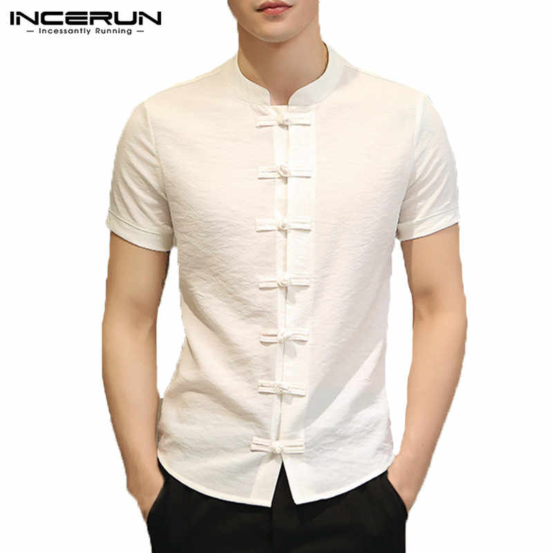 5081a36e39 ... Stylish Plain Mens Shirts Chinese Male Clothing Summer Tee Tops Dress  Short Sleeve Slim Fit Button ...