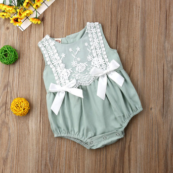 2019 New Infant Newborn Baby Girls Clothing Lace Ruffles Rompers Jumpsuit Cute Bow Sunsuit Summer Baby Girls Costume 1