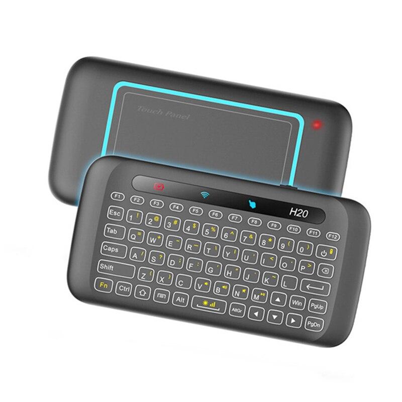 Teclado sem Fio com Touchpad Android do Windows Usb para Caixa de tv Mini Combo Mouse Backlit Remoto Multi-toque Recarregável 2.4 Ghz