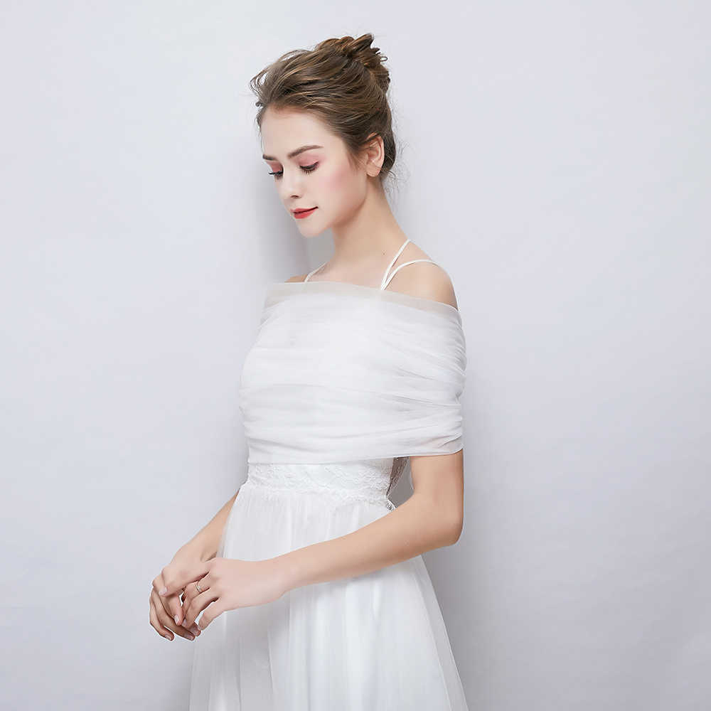 fashion white tulle wrap lace up back off shoulder shawl for
