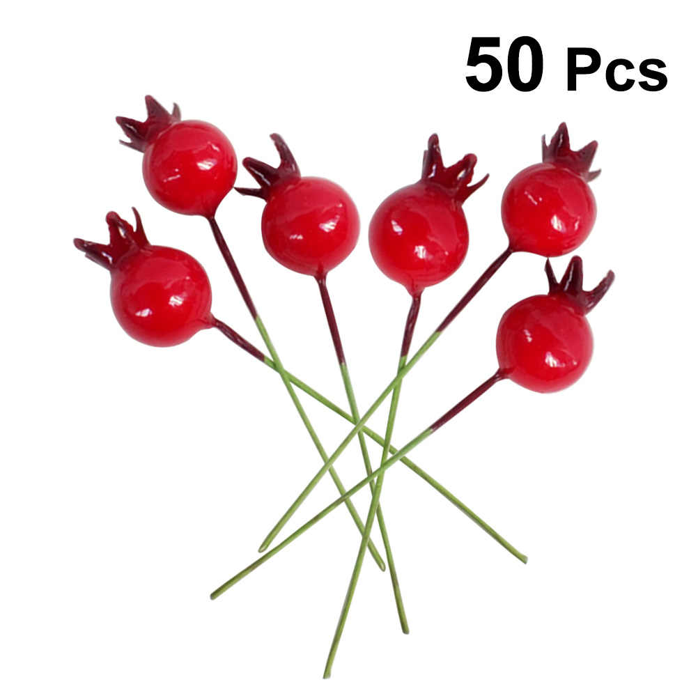50pcs Small With Stem Simulation Pomegranate Fruit Berries Artificial Flower Red Christmas Cherry Stamen Wedding Decoration