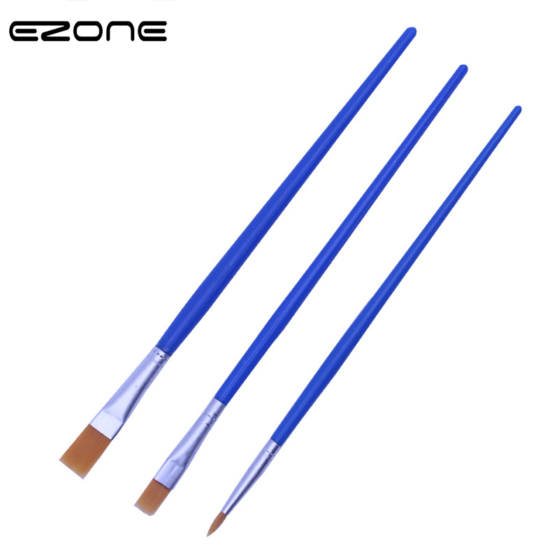 EZONE Paint Brushes For Children Watercolor Oil Painting Flat Hook Link Brush Acrylic Gouache Drawing School Art Supply