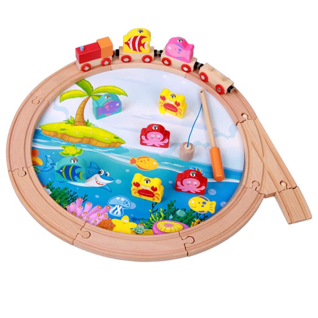 2-en-1 Montessori jouet Train en bois + jeu de pêche Coordination main-oeil jouets éducatifs d'apprentissage précoce pour enfants enfants bébé