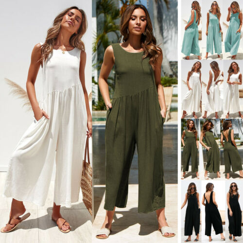 Women Striped Long Sleeve Wide Leg Loose Zipper Back   Jumpsuit   Overalls with Pockets