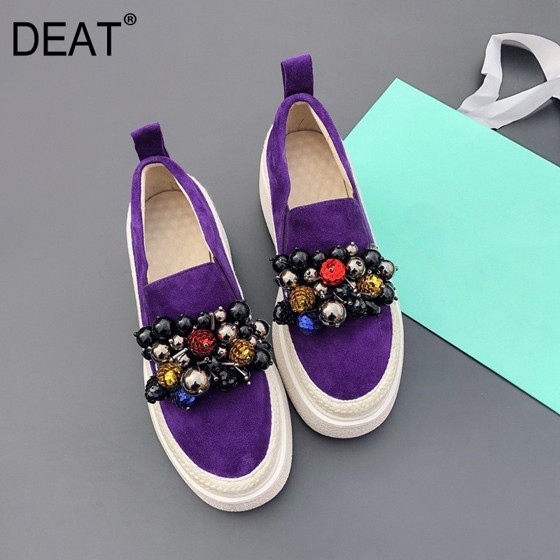 DEAT 2019 New Spring Summer Round Toe Shallow String Bead Mixed Colors Casual Single Flat