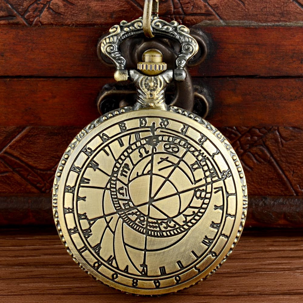 Steampunk Pocket Watch Vintage Bronze Fob Watch With Chain Necklace Pendant For Men And Women