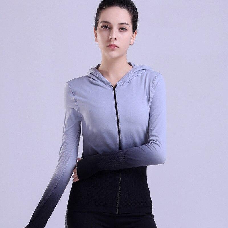 Fitness With Hoodie Jackets Hat Zipper Women T shirt Long Arm Sweatshirt Running Yoga Jacket Tops Women's Shirt Sports Clothing