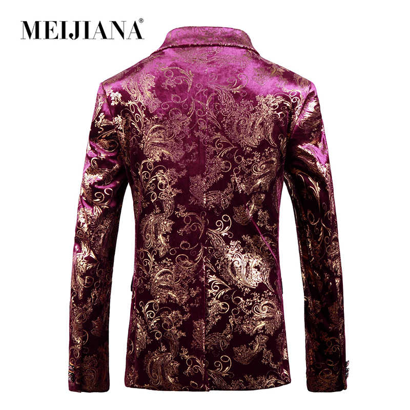 ワイン男性花婿の付添人赤花 MEIJIANA 印刷結婚式のスーツ 2018 衣装ブレザー Masculino ジャケットドレスブレザー