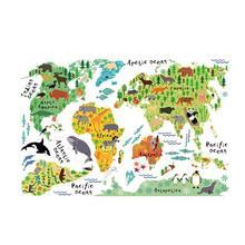 VODOOL животные карта мира красочный мир наклейки Дети Домашний Декор стены DIY комнаты художественный плакат Дети Раннее Образование принадлежности 90X60 см