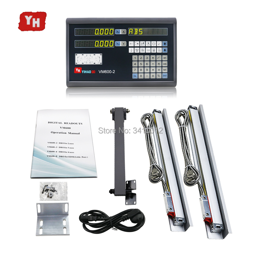 Complete Digital Readout Display System 2 Axis Dro + 2 PCS 5u Linear Encoder Optical Line Measuring Ruler Linear Scales