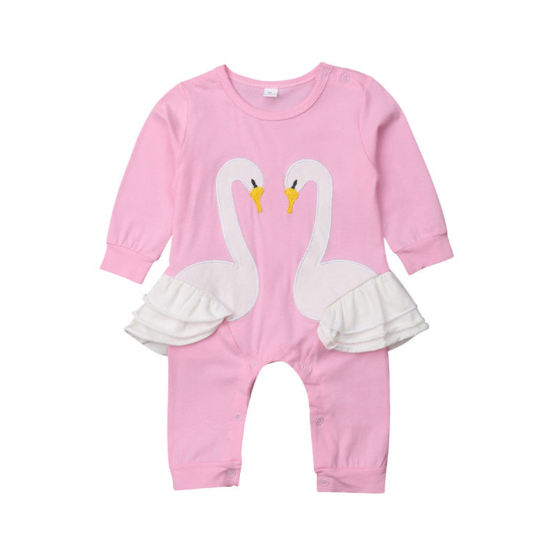Bird Flamingos Infant Baby Boys Girls Crawling Clothes Sleeveless Rompers Romper Jumpsuit Black