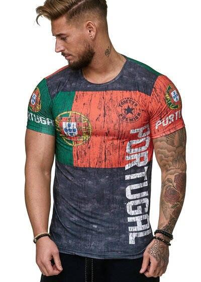 100% Wahr Portugiesisch Brief Mann T-shirt 3d Druck Polyester Spandex Stoff Casual Kühlen Männer T-shirt 2019 Sommer Neue