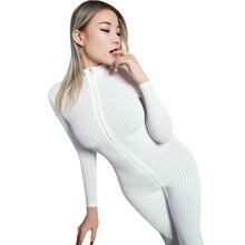 Sexy Lingerie Women Stripe Jumpsuit High Elastic Zipper Open Crotch Long Sleeve