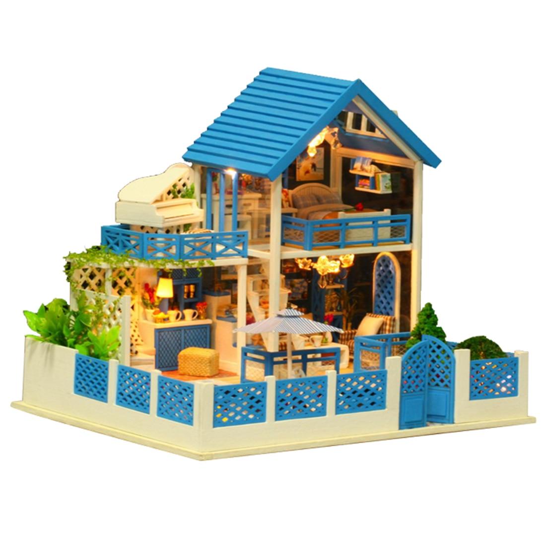 Dla dzieci DIY kreatywne ręcznie motyw drewniane kabiny montaż modelu zabawki zestaw z światła i muzyki prezent wycieczka z widokiem na morze egejskie w Domy dla lalek od Zabawki i hobby na  Grupa 2