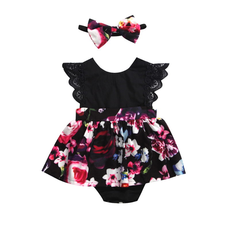 CANIS 2019 New Newborn Baby Infant Girl   Romper   Tutu Dress Headband Floral Outfits Party Dress