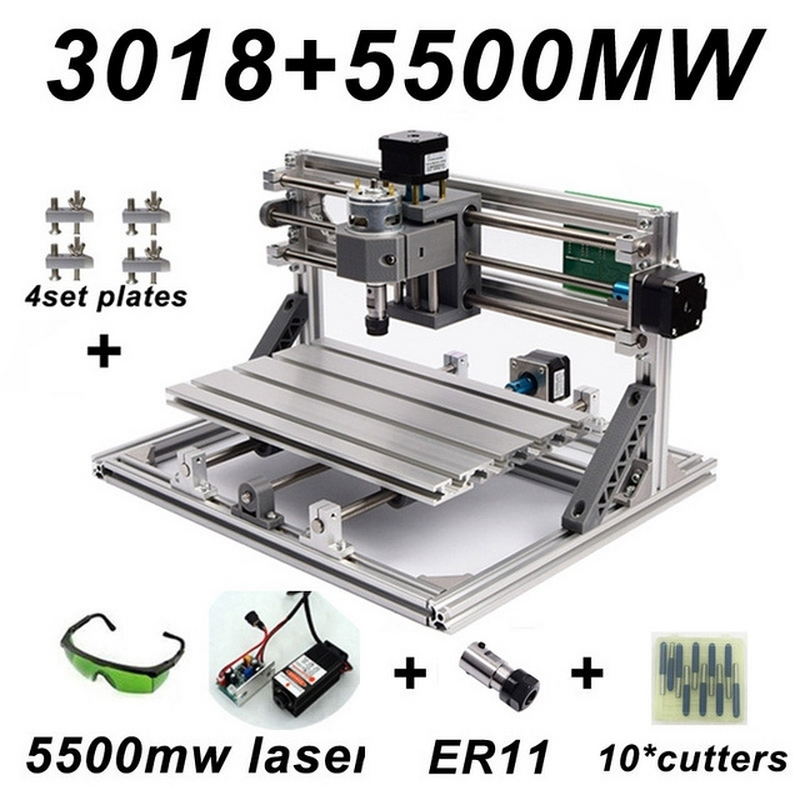 Mini CNC 3018 2418 1610 Engraving Machine with 5500mw Laser Head Wood Router PCB Milling Carving Machine DIY CNC with GRBL