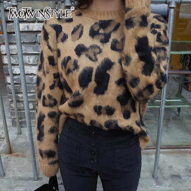 TWOTWINSTYLE estampado leopardo suéter mujer cuello redondo manga larga tejido Jersey Tops mujer talla grande 2019 primavera Casual moda