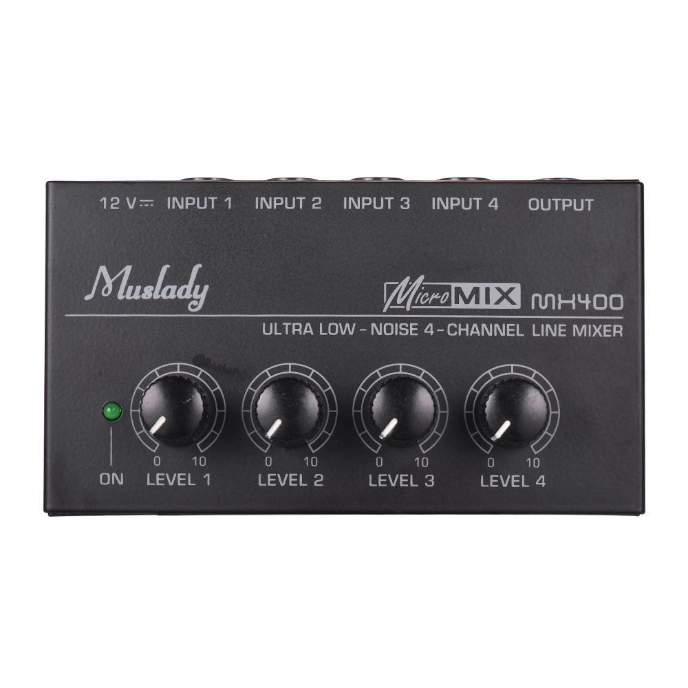 Muslady MX400 Sound Mixer Ultra-compact Low Noise 4 Channels Line Mono Audio Mixer With Power Adapter EU/US PLUG