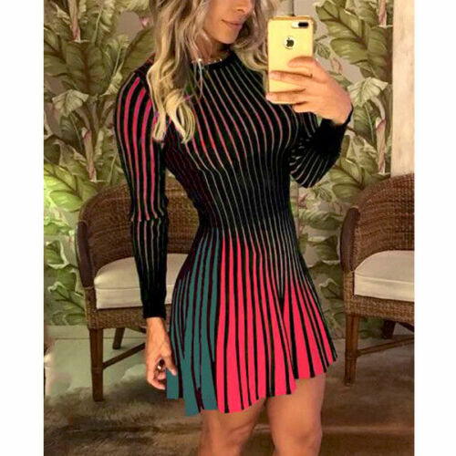 Women Lady Sexy Long Sleeve Mini Dress Evening Party CasualLoose Sexy Club Ball Gown Dress