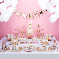 18pcs cake stand wedding table crystal gold color