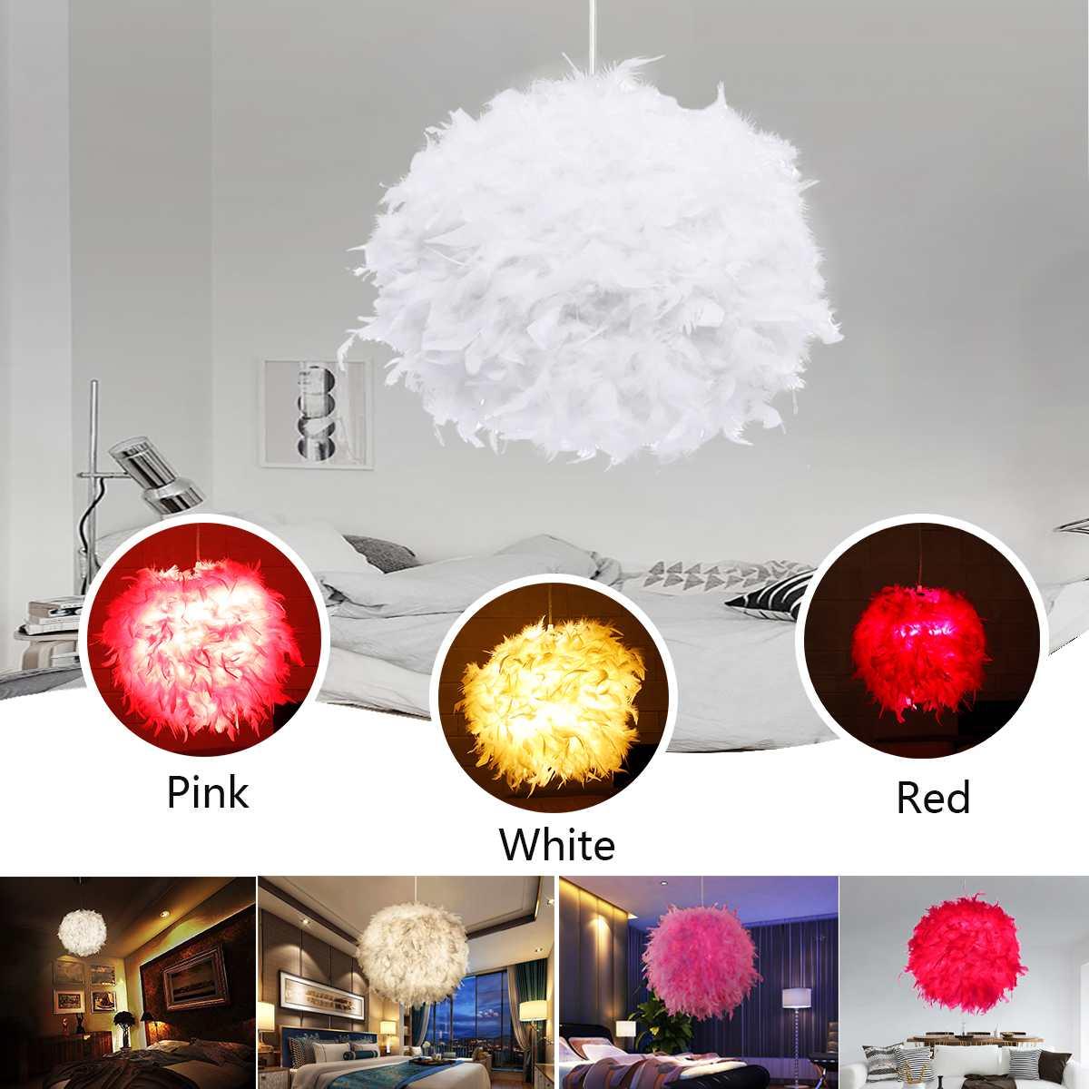 Ceiling Pendant Light Shade Modern Feather Ball Lamp shade Bedroom Living Room Red/Pink/White 110 220V E27 Soft Safe Decor