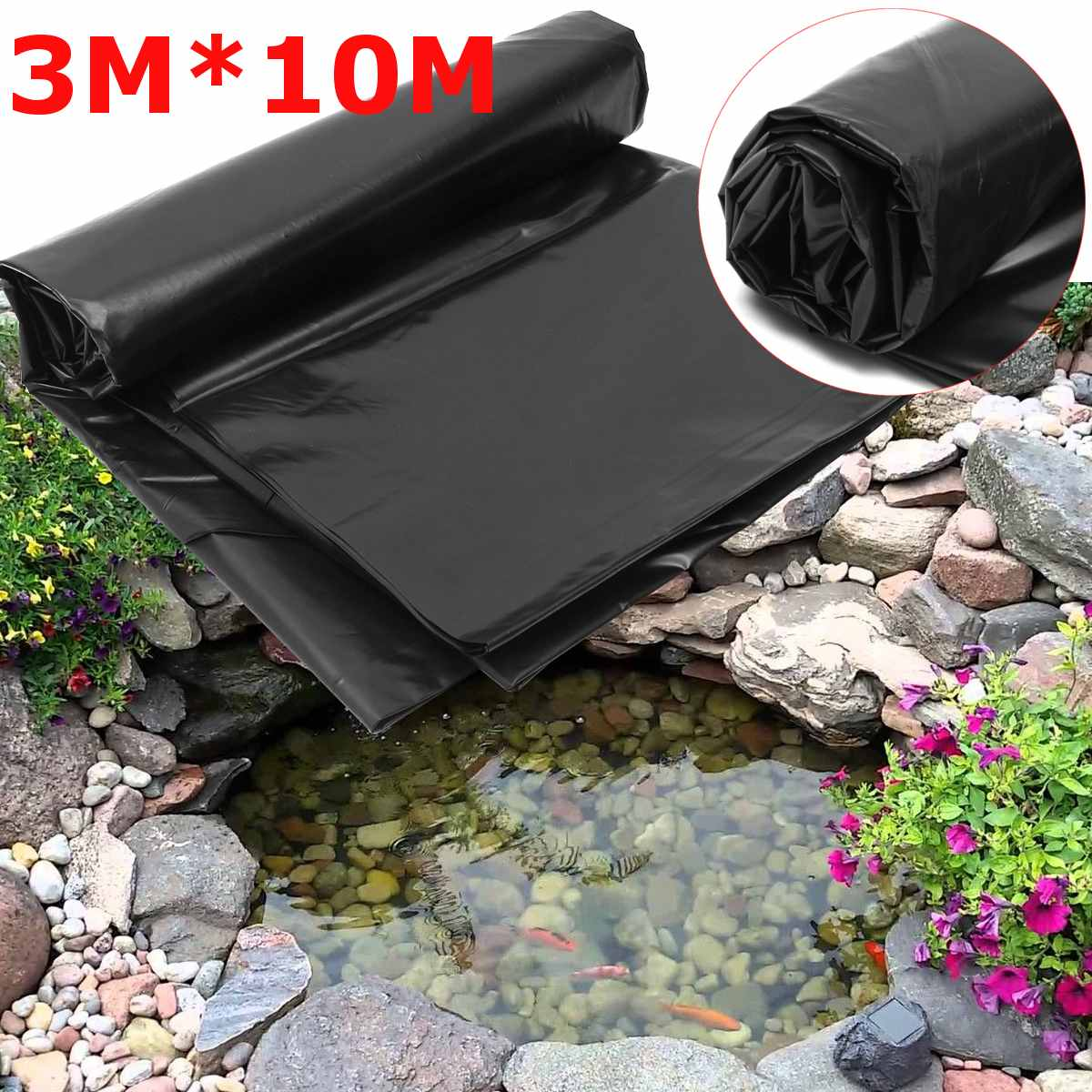 3x10M PE Fish Pond Liner Home Garden Pool Reinforced HDPE Heavy   Landscaping Pool Pond Waterproof Liner Cloth Black New