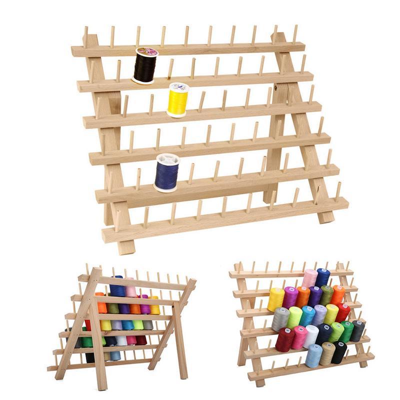 60 Axis Wood Thread Rack Spool Sewing Organizer Wood Thread Tailor Rack Premium Thread Rack Spool Organizer Storage Holder