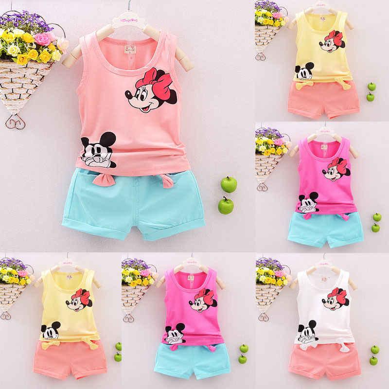 Sommer Kleinkind Mädchen Kleidung Minnie Mickey Ärmelloses T-shirt Weste Tops + Kurze Hose 2PCS Outfits Set Kinder Kid Mädchen kleidung