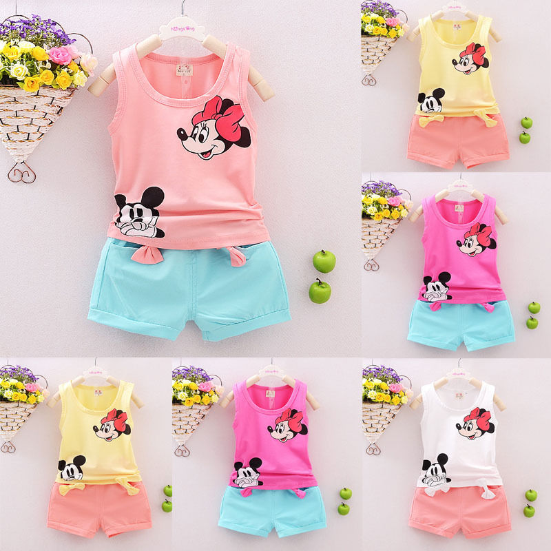 Summer Mickey Toddler Girl Clothes Children Set Bow Infant Kids Baby Girls T shirt Tops Short Pant 2PCS Outfits ropa de niña Set in Clothing Sets from Mother Kids